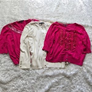 Lot of 3 Express Cardigans in Pink & White SzL P16